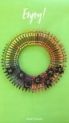 Turn Crayons Into A Wreath - classroom decor idea