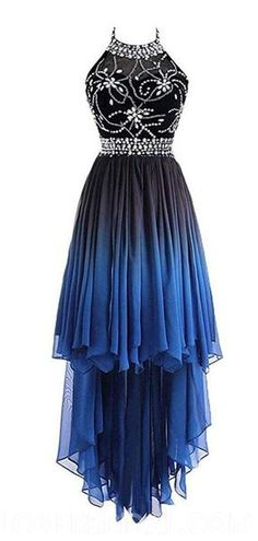 Halter Beaded High Low Chiffon Ombre Cheap Long Evening Prom Dresses 0dff5ae8437f