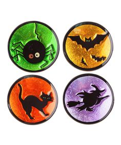 Look at this Green & Black Spooky Icons Glass Plate Set on #zulily today!