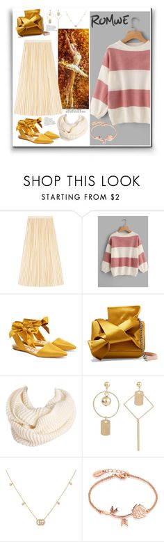 """""""Romwe wide striped sweater"""" by eldinreham ❤ liked on Polyvore featuring Gucci, Sam Edelman, N°21 and Disney"""