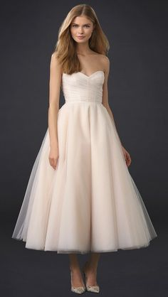 Sloane Strapless Tea Length Dress