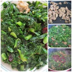 Make this low carb keto sausage kale recipe. On diet or not, add a small amount of dried cranberries to highlight its savory taste. Kale Recipes, Pork Recipes, Boil Corn On Cob, All Vegetables, Veggies, Boiled Corn, 15 Minute Meals, Recipe Steps, Toasted Almonds
