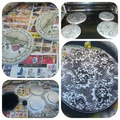 Redecorated stove top burner covers... using lace and two different spray paint color