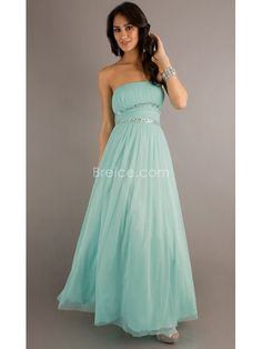 A-line Strapless Long Chiffon Prom Evening Formal Dresses