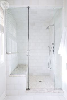 White Shower Tiles with CReam Mosaic Shower Floor Tiles - Transitional - Bathroom Upstairs Bathrooms, Small Bathroom, Master Bathroom, Bathroom Ideas, Condo Bathroom, Bathroom Marble, Bronze Bathroom, Bathroom Showers, Bathroom Designs