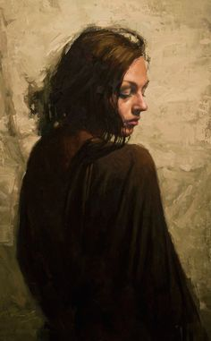"""Anastasia"" - Jeremy Mann (b. 1979), oil on panel, 2012 {figurative #impressionist art brunette female face brown back beautiful woman profile portrait cropped painting} redrabbit7.com"