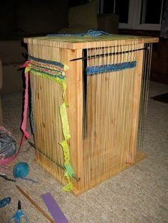 Make A Loom From A Coffee Table — IKEA Hacker. How cool would this be in the classroom!