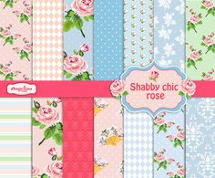 14 Shabby Chic Rose Digital Scrapbook Paper pack by AngelinaWorks