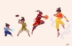 """ avatar korra: throughout the years "" this is incomplete! but here's one of the prints that will be available at anime north! it'll be much more refined, but for now, here it is. i'm tired and my..."