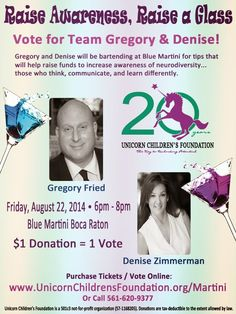 Let the competition begin!!  Cast your vote for Gregory Fried, who is currently 3rd Place on our Leaderboard, or Denise Zimmerman as your favorite bartender!  Who will win the Coveted Trophy? Join us at Blue Martini Boca Town Center on August 22nd to find out...