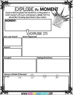 How I Teach Explode the Moment Writing - Raise the Bar Reading grade, writing, expanding sentences Writing Strategies, Writing Lessons, Teaching Writing, Writing Skills, Writing Rubrics, Writing Process, Kindergarten Writing, Writing Ideas, Math Lessons