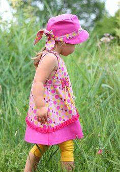 """eBook - """"Loreena"""" von Miou Miou Schnittmuster - Kleid/Trägerrock/Tunika/Ballonkleid - Nähen für Kinder - Mädchen - Patchwork - Baumwollkleid - Baumwolle """"Molly"""" & """"Heide"""" von Swafing - Rüschenspitze - Rüschen - Wäschespitze - Rüschenborte Amira - Glückpunkt."""