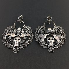 64e75cd33081 Jewelry - Mexican Silver Filigree Earrings with Skulls