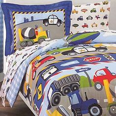 Trucks and Tractors Twin-size 5-piece Bed in a Bag with Sheet Set | Overstock.com Shopping - The Best Deals on Kids' Bed in a Bags