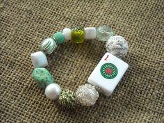 Green and White Mahjong Bracelet - Jesse James Beads Jewelry - Mahjong Jewelry by MahjongJewelry on Etsy