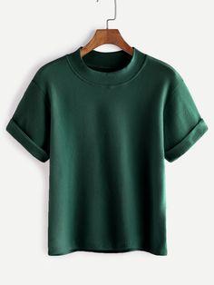 Shop Mock Neck Cuffed T-shirt online. SheIn offers Mock Neck Cuffed T-shirt & more to fit your fashionable needs.