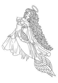 Linearting Old Mermaid Sketches Paola Tosca Adult Coloring PagesColoring