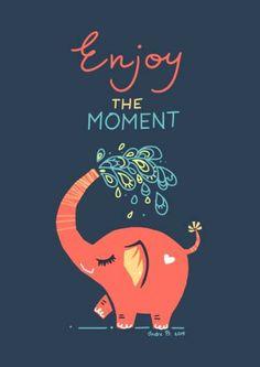 Digital illustration Enjoy the Moment Image Elephant, Elephant Love, Elephant Art, Funny Elephant, Elephant Stuff, Elephant Illustration, Simple Illustration, Digital Illustration, Brain Illustration