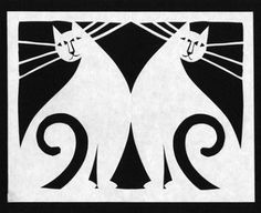 Cats in B&W...beautiful poster from Julie Paschkis