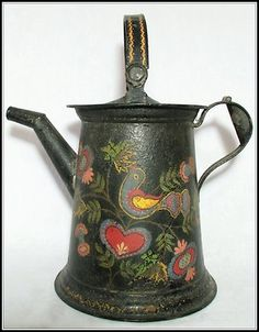 Awwwwesome antique HP toleware coffee pot with gorgeous bird and heart detail! 12 in tall, probably includes the handle. Great just to look at. Gypsy Decor, Country Paintings, Types Of Painting, Country Crafts, Tole Painting, Early American, Metallic Paint, Vintage Antiques, Folk Art