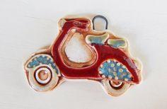 Handmade porcelain pendant boho-chic scooter por Majoyoal en Etsy