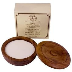 Taylor Of Old Bond Street Wooden Shaving Bowl + Sandalwood Soap - 100g - Shaving Soap - Shaving Prep