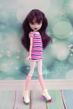 Monster High doll clothes. Hand-knitted striped sweater with | Etsy Monster High Doll Clothes, Monster High Dolls, White Leggings, Clothes Crafts, Knitted Dolls, Tunic Sweater, Custom Dolls, Body Size, Hand Knitting