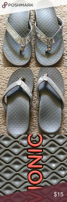 Vionic Silver Sequin Sandals Super sparkly and very comfortable. Vionic is a company known for designing footwear that eases the pressure on your back. They have great support and lots of personality. Worn but lots of life left. vionic  Shoes Sandals