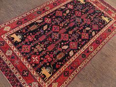 This finely hand knotted pile carpet is made with natural dyes and handspun wool from fine Karakul wool. White Crane, Oriental Rugs, Saturated Color, Woven Rug, Tribal Rug, Lions, Persian, Whimsical, Bohemian Rug