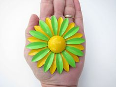 Vintage Big Large Bright Green and Yellow Flower by passionateflea, $12.00