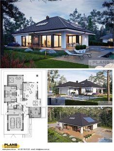 One-storey Tanita cottage with a two-month garage- One-storey Tanita cottage with a two-car garage - Craftsman Style Bungalow, Bungalow Floor Plans, Modern Bungalow House, Small Modern House Plans, Small House Floor Plans, Home Room Design, Dream Home Design, One Storey House, Model House Plan