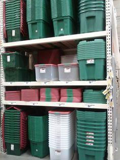 Holiday Storage Bins - I love color coding. Green/Red = Christmas, Orange = Halloween