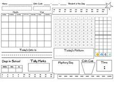 Calendar Recording Sheets- Interactive Calendar Freebie