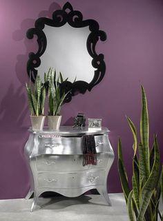 Small Home Interior Design with Beautiful Mirror Colections.... So pretty . Master bath room color !!