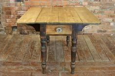 Antique Victorian Painted Pine Dropleaf Kitchen Scrub Top Dining Table #Victorian