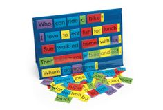 Pocket chart, desktop- sight words, sentences, also selling words that are different colors based on parts of speech (many colors for boards too)