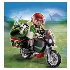 Explorateur et moto marque: Playmobil description: Explorateur avec moto et de nombreux accessoires (lampe, fusil, couverture,appareille photo) prix : 7.90 EUR €  chez Auchan #Playmobil #Auchan