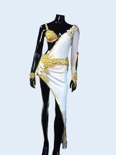 White and Gold Latin Dance Dress Dance Dress by DesignByNatasha