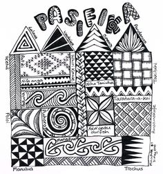 Zentangle pasifika sampler doodles and zentangles графика, д Mandalas Painting, Mandalas Drawing, Zentangle Drawings, Zentangle Patterns, Zentangles, Doodle Art Letters, Doodle Art Journals, Art Journal Pages, Tangle Doodle