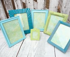 Different shades of blue and green frames mesh well together