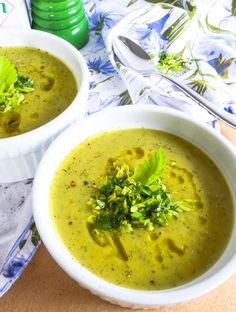 Vegan cream of celery soup with dill is the perfect spring dish. Garnished with a dill and celery salad this is an easy and quick recipe that has an elegant twist. This soup is gluten-free, paleo, AIP and compliant. Easy recipe for any weeknight o Healthy Recipe Videos, Healthy Diet Recipes, Clean Eating Recipes, Healthy Cooking, Vegetarian Recipes, Vegan Soups, Vegan Food, Healthy Eats, Cooking Recipes