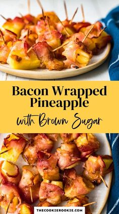This bacon pineapple appetizer recipe can be served hot or cold and is made with just four ingredients! It's a perfectly delicious appetizer for any occasion. #pineapple #appetizerrecipe #easyappetizers #bacon #thanksgivingrecipe #partyfood #christmasappetizer Quick And Easy Appetizers, Easy Appetizer Recipes, Yummy Appetizers, Dinner Recipes, Bacon Wrapped Appetizers, Bacon Wrapped Shrimp, Fruit Recipes, Cooking Recipes, Bacon Wrapped Water Chestnuts