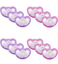 JollyPop 0 to 3 Months Vanilla Scented Pacifier, 6 Pack, Lavender/Pink