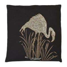 Lagoon Embroidered Cushion in Black W45 x D45 cm