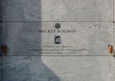 Grave Marker- Mickey Rooney (1920 - 2014) actor.