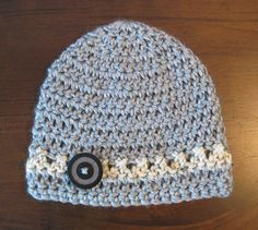 My mom's Etsy shop. Check her out!! Blossoms by June Lynn     Gray Hat, w/ Oatmeal Stripe. Crochet Baby Boy Hat, Newborn Crochet Hat, Boys gray brown Crochet Beanie Hat, Winter Summer READY TO SHIP.. $12.00, via Etsy.