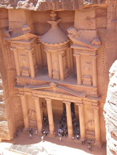 Petra beautiful city built right into the walls.  Visited there in 1978.  Went to it by donkey!