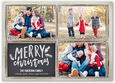 Merriest Wooden Frames Christmas Card, Square Corners, White