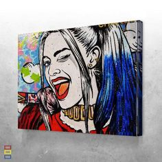 Design Inspiration : Daddy little monster canvas set ,it's Harley quinn from suicide squad. Canvas Art Projects, Canvas Art Prints, Canvas Ideas, Framed Canvas, Diy Canvas, Framed Art, Pop Art Drawing, Art Pop, Art Drawings