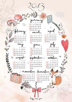 2013 calendar by Sernuretta on Etsy, €16.90
